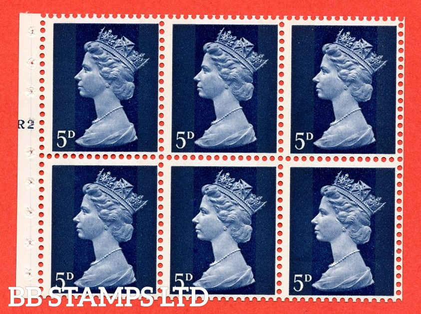 UB19 5d 2 Bands. UNMOUNTED MINT Complete Pre decimal machin Cylinder Pane of 6 R2T No Dot . (UB19) Perf Type IS. Good Perfs.