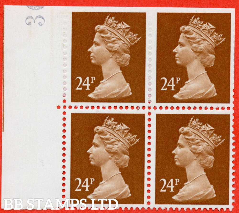 "SG. X969a. 24p chestnut. A superb UNMOUNTED MINT  part "" IMPERF "" ERROR left hand marginal block of 4."