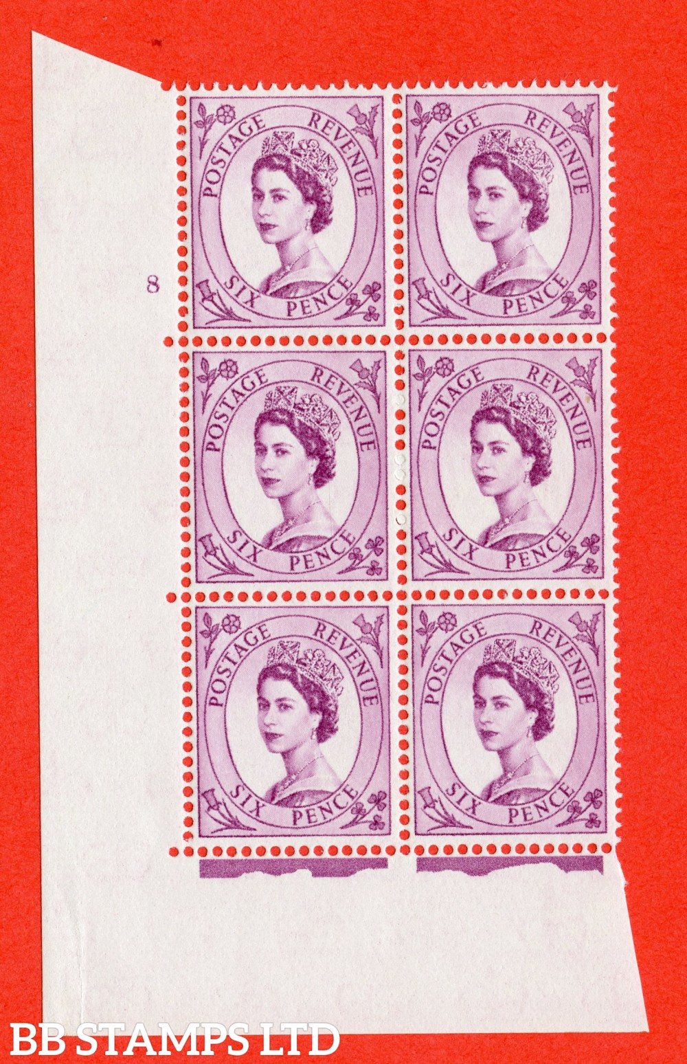 "SG. 579. S108. 6d Purple. A superb UNMOUNTED MINT "" cylinder 8 no dot "" control block of 6 with perf type A E/I. WHITE paper."
