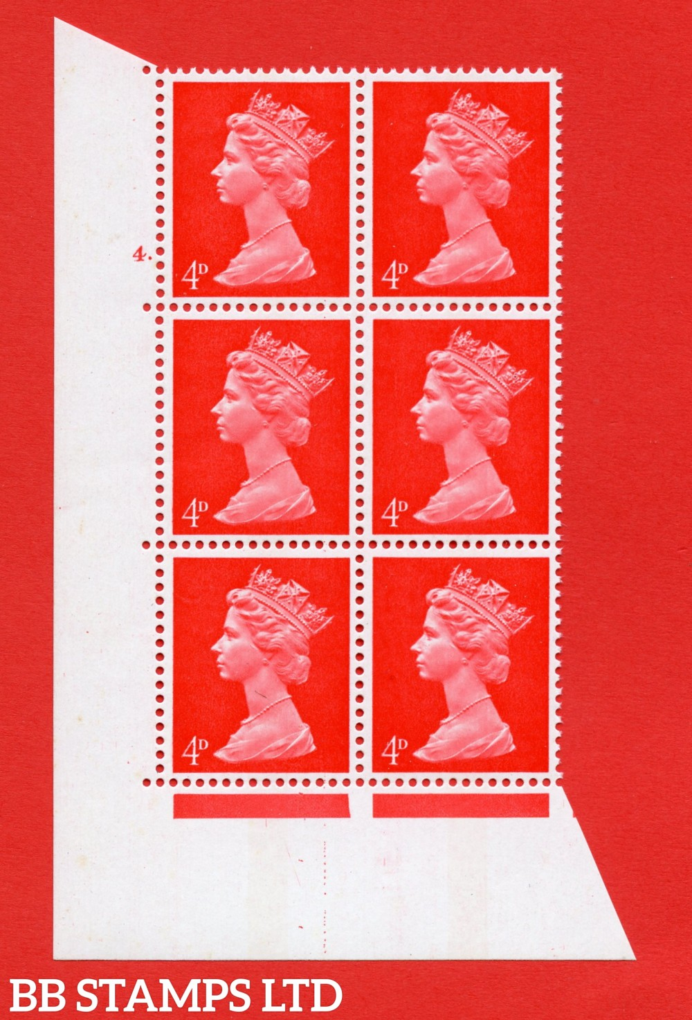 "SG. 733. U14. 4d bright vermilion  A superb UNMOUNTED MINT "" cylinder 4 dot "" control block of 6 with perf type A E/I. PVA gum. Head A."