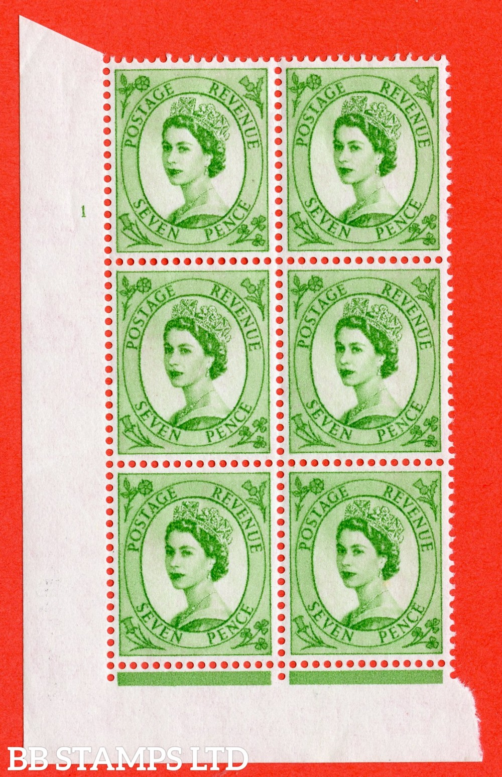 "SG. 580. S117. 7d Bright green. A superb UNMOUNTED MINT "" cylinder 1 dot "" control block of 6 with perf type FL I/E. WHITE paper."