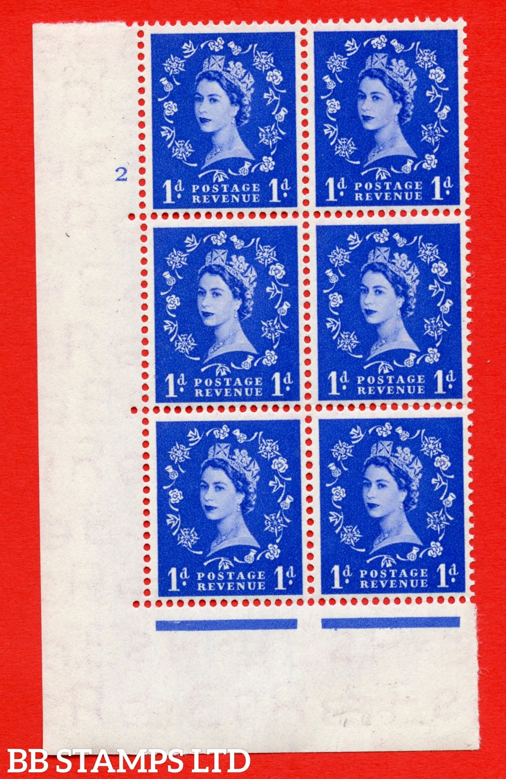 "SG. 516. S13. 1d Ultramarine. A superb UNMOUNTED MINT. "" cylinder 2 no dot "" control block of 6 with perf type A E/I."