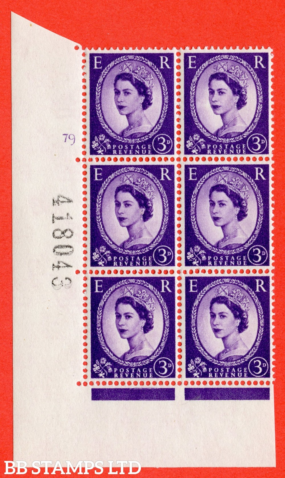 "SG. 575. S71. 3d Deep Lilac. A superb UNMOUNTED MINT "" cylinder 79 no dot "" control block of 6 with perf type A E/I. WHITE paper."