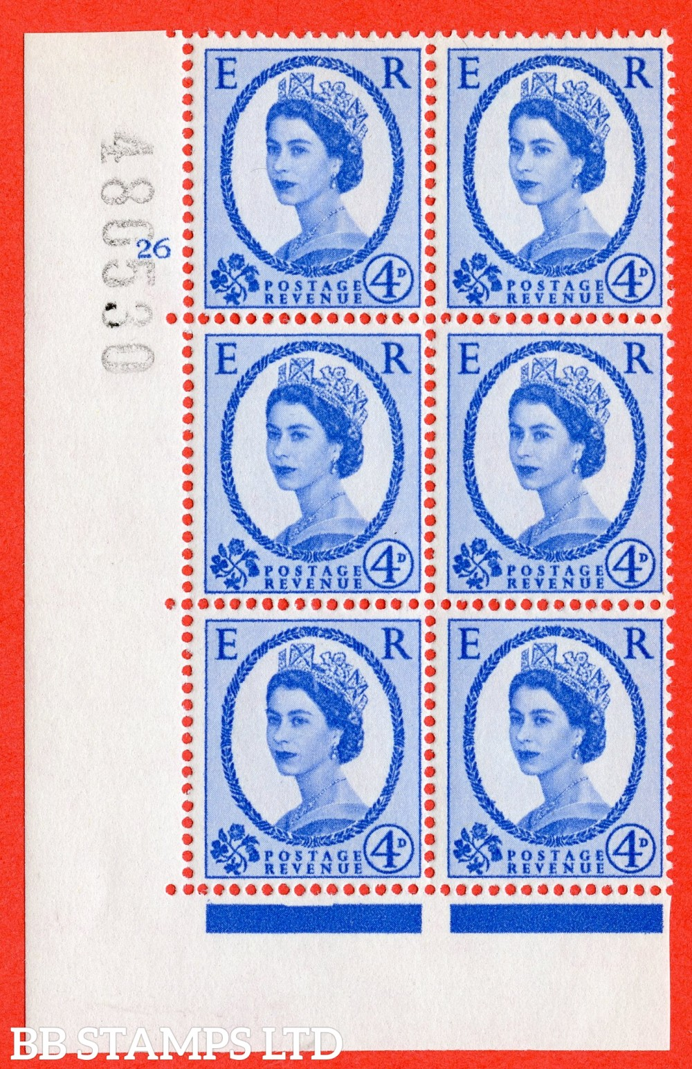 """SG. 576a. S85. 4d Deep Ultramarine. A superb UNMOUNTED MINT """" cylinder 26 no dot """" control block of 6 with perf type A E/I. WHITE paper."""
