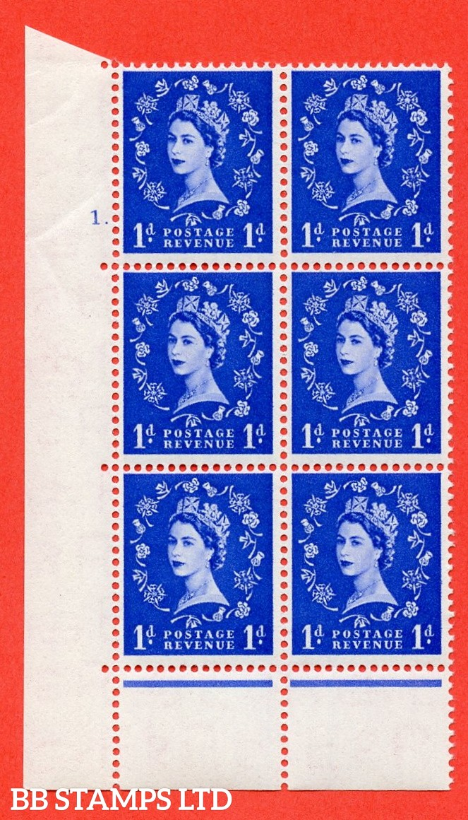 """SG. 516. S13. 1d Ultramarine. A superb UNMOUNTED MINT. """" cylinder 1 dot """" control block of 6 with perf type C E/P."""