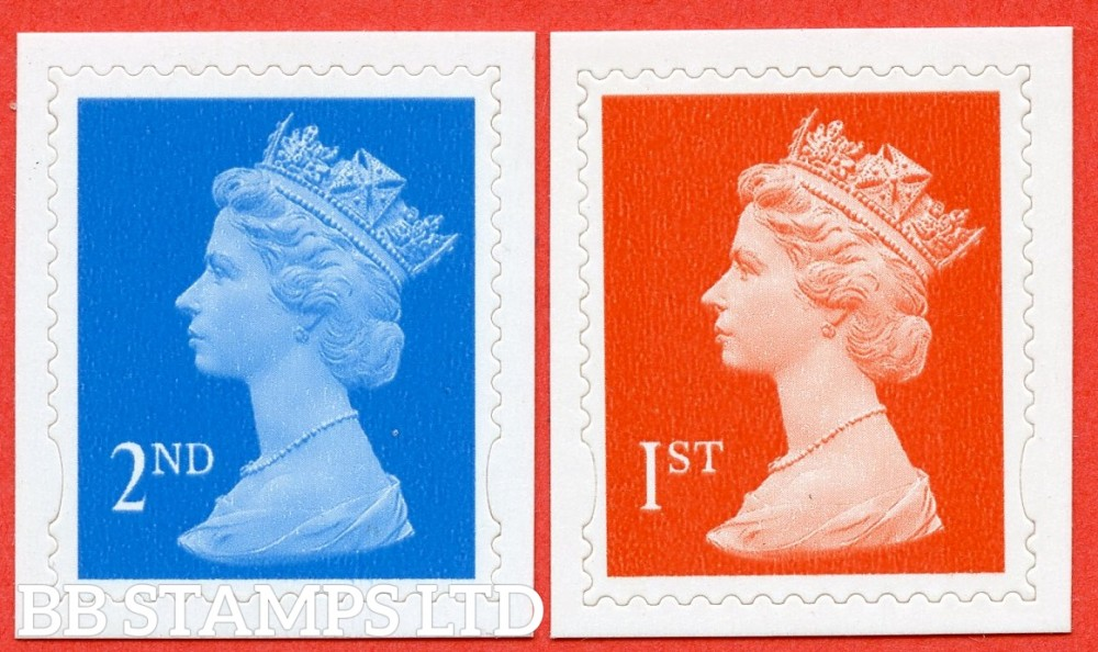 """SG. 2039b & 2040 b. 2nd & 1st Class """" Dagger Perfs """". Perf 14½ x 14 die - cut ( 22/06/98 ). A Superb UNMOUNTED MINT pair of these very scarce and underrated modern perf ERRORS."""