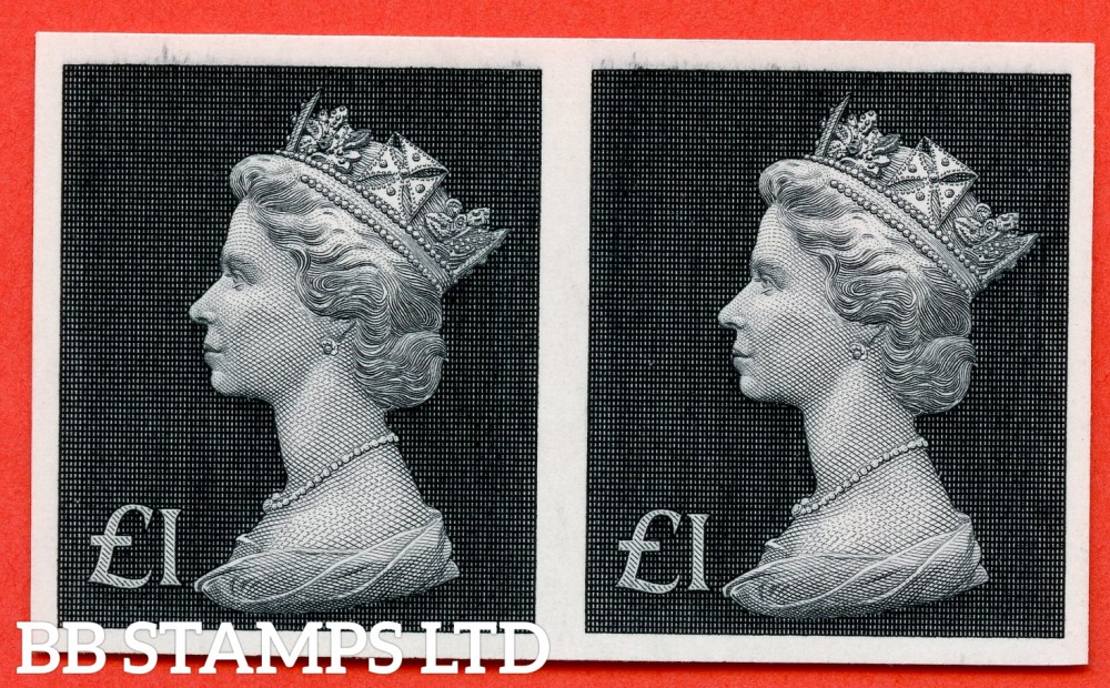 SG. 831b. 1972 - £1 Bluish Black. A superb UNMOUNTED MINT IMPERF PAIR ERROR.