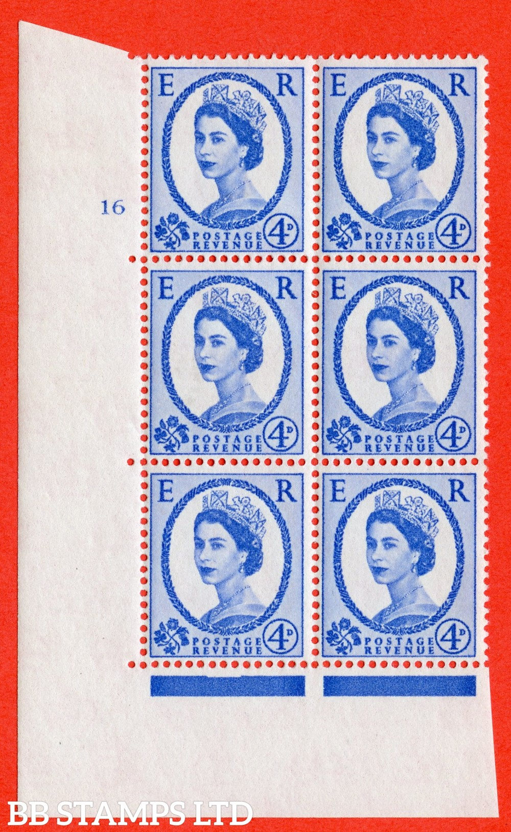 "SG. 576a. S85. 4d Deep Ultramarine. A fine lightly mounted mint "" cylinder 16 no dot "" control block of 6 with perf type A E/I. WHITE paper."