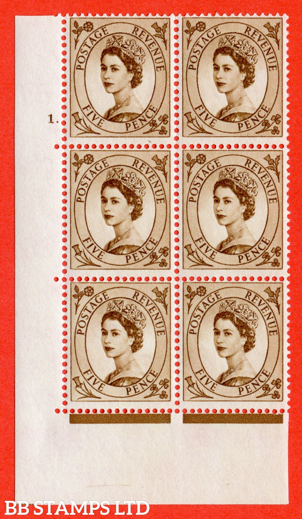 "SG. 578. S102. 5d Brown. A superb UNMOUNTED MINT "" cylinder 1 dot "" control block of 6 with perf type A E/I. WHITE paper."