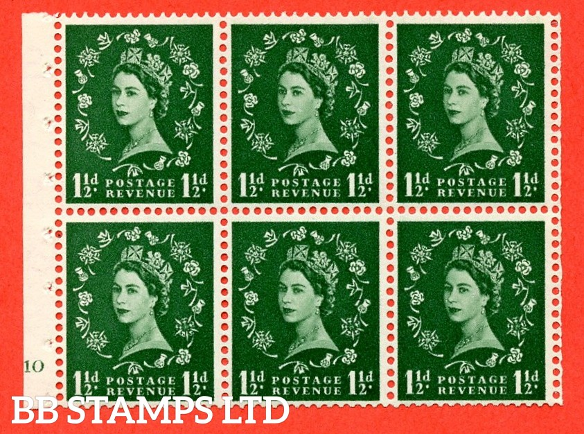 """SG. 542. SB62. 1½d green. A fine UNMOUNTED MINT cylinder """" G10 no dot """" booklet pane of 6. Perf type (I) with GOOD PERFS. Smooth edge."""