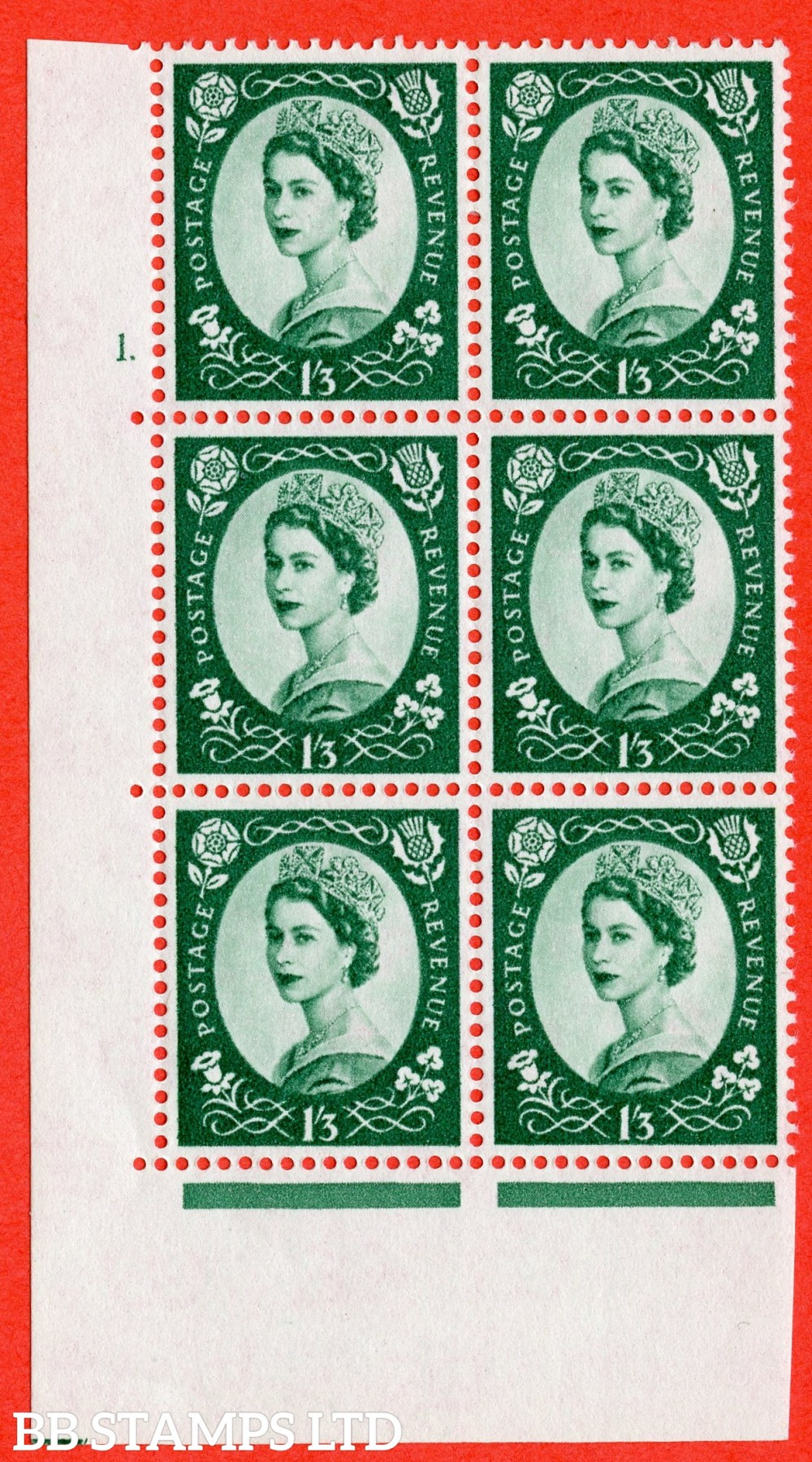 "SG. 585. S144. 1s 3d. Green. A fine lightly mounted mint "" cylinder 1 dot "" control block of 6 with perf type A E/I. WHITE paper."
