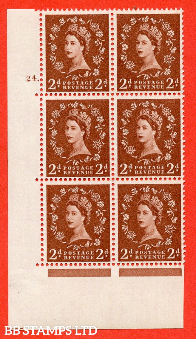 """SG. 573. S40. 2d light red brown . A fine mounted mint """" cylinder 24 dot """" control block of 6 with perf type A E/I. CREAM paper."""