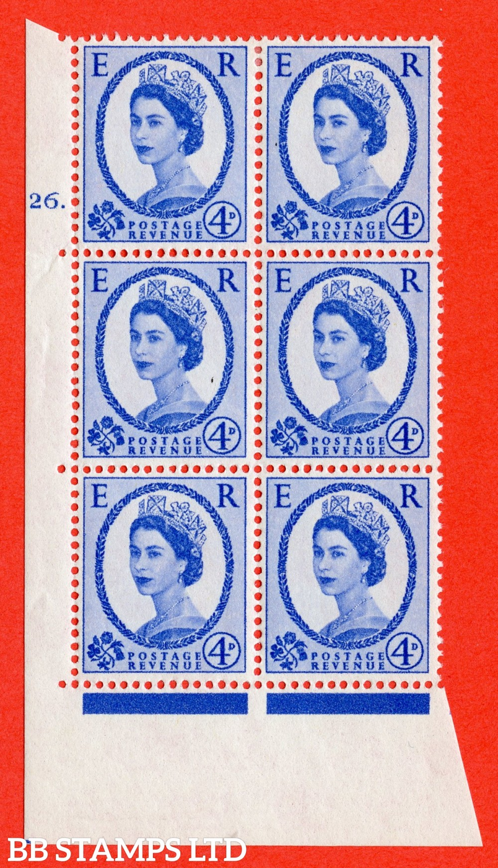 "SG. 576a. S85. 4d Deep Ultramarine. A fine lightly mounted mint "" cylinder 26 dot "" control block of 6 with perf type A E/I. WHITE paper."