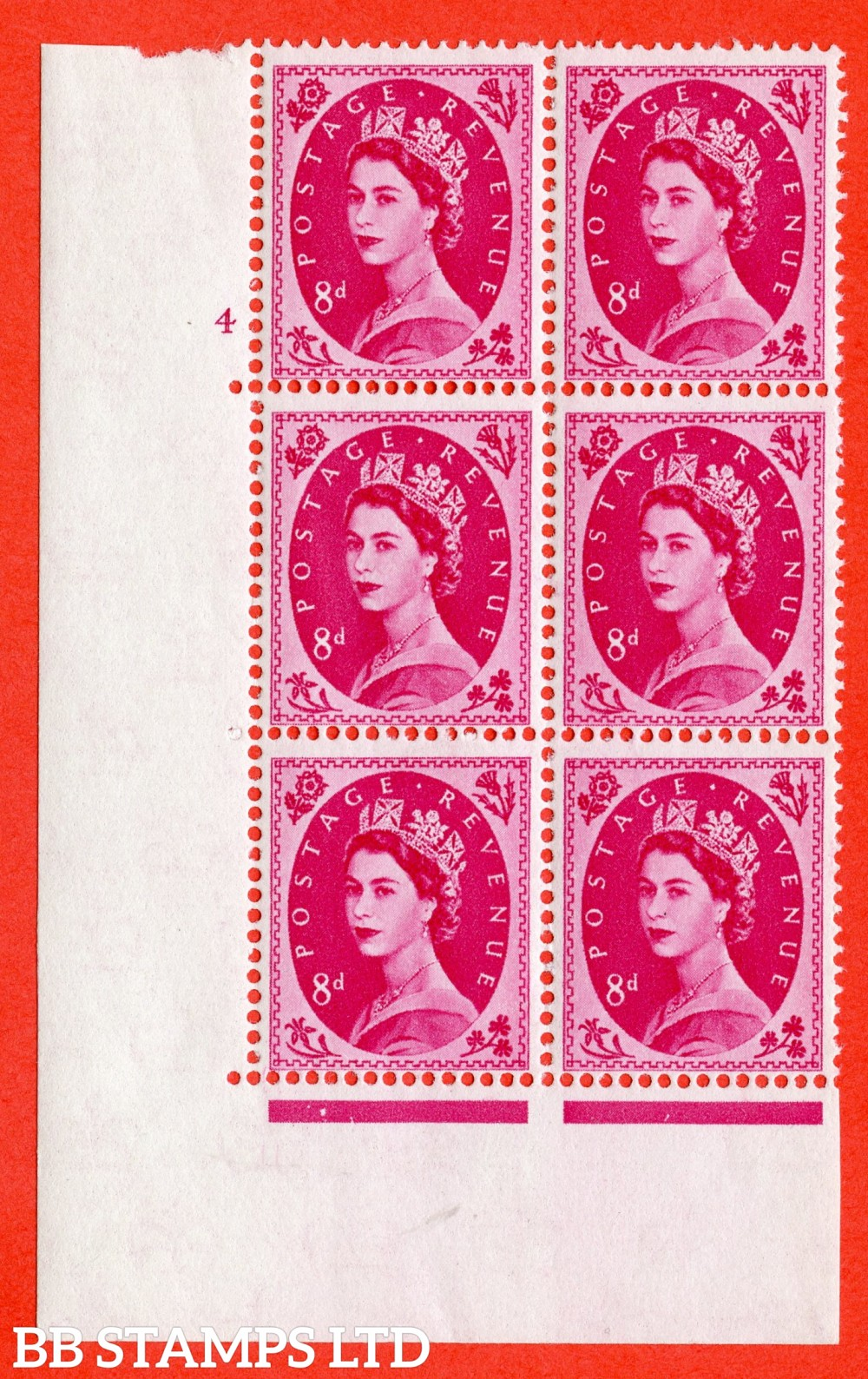 "SG. 581. S122. 8d Magenta. A superb UNMOUNTED MINT "" cylinder 4 no dot "" control block of 6 with perf type A E/I. WHITE paper."