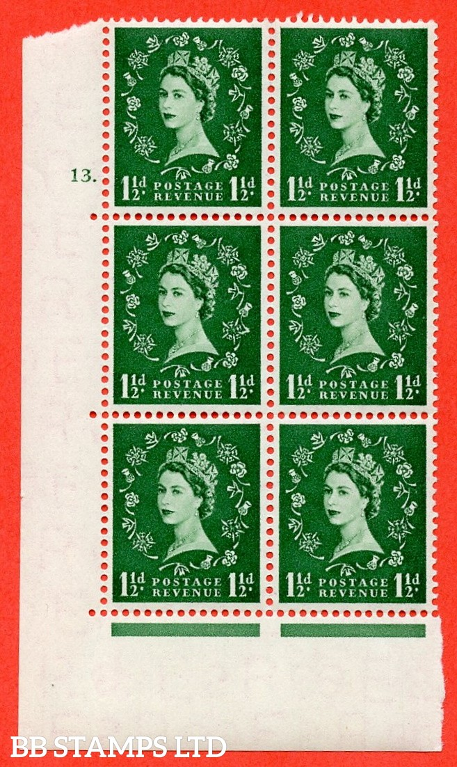 """SG. 542. S26. 1½d. Green. A superb UNMOUNTED MINT """" cylinder 13 dot """" control block of 6 with perf type A E/I"""