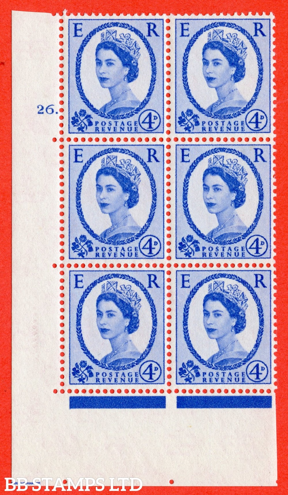 "SG. 576a. S85. 4d Deep Ultramarine. A superb UNMOUNTED MINT "" cylinder 26 dot "" control block of 6 with perf type A E/I. WHITE paper."