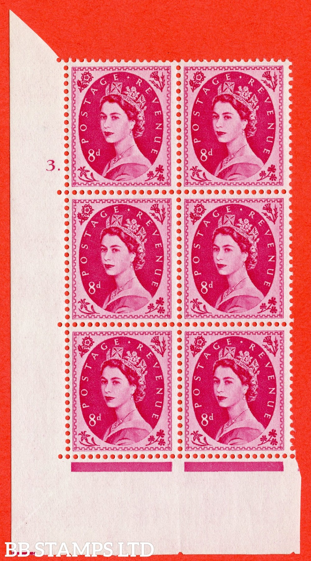 "SG. 581. S122. 8d Magenta. A fine lightly mounted mint "" cylinder 3 dot "" control block of 6 with perf type A E/I. WHITE paper."