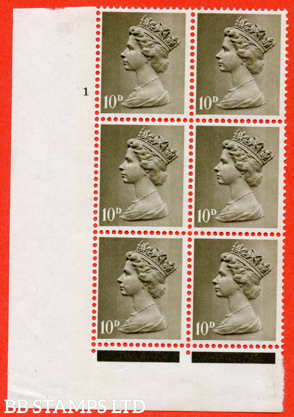 """SG. 741 a. U24a. 10d drab. """" UNCOATED PAPER """". A super UNMOUNTED MINT cylinder """" 1 no dot """" block of 6 of this scarce QEII ERROR variety. Complete with BPA certificate."""