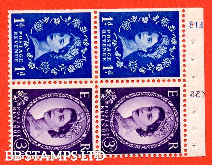 """SG. 611 / 615 . SB50. 1d Ultramarine & 3d Deep Lilac. A fine UNMOUNTED MINT cylinder """" F13 / K22 ( 8mm ) no dot """" booklet pane of 4. Perf type (I) with TRIMMED PERFS. Smooth edge. White Paper. Violet 8mm Phosphor."""