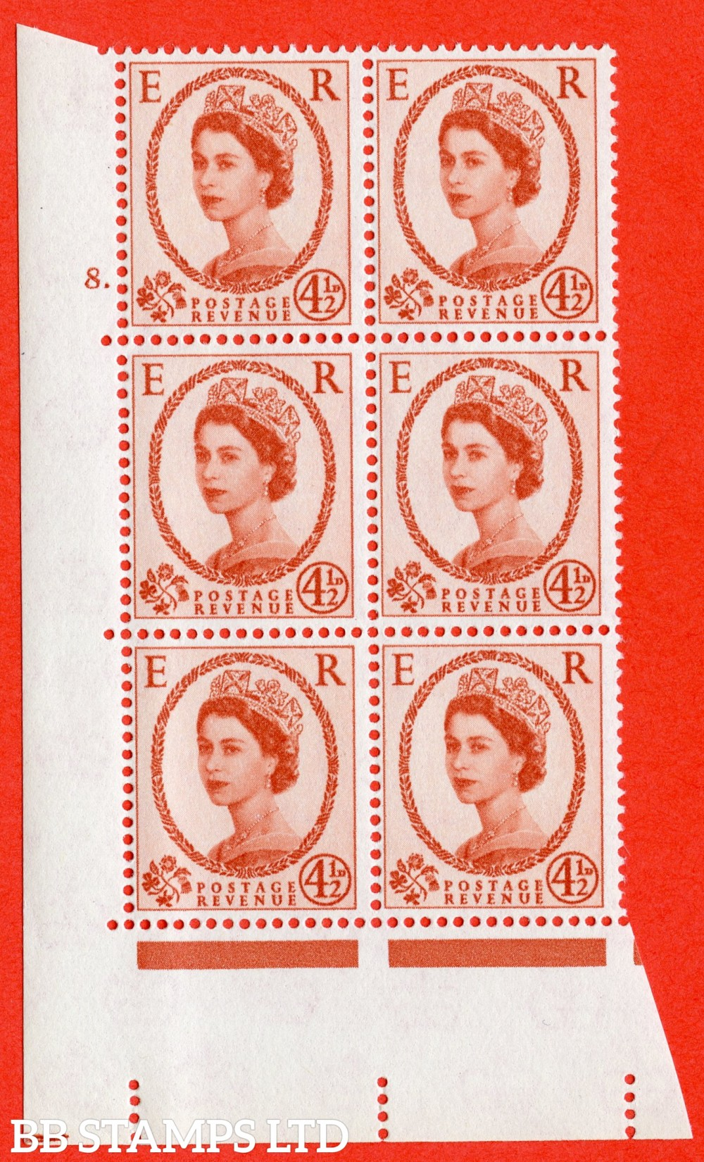 "SG. 577. S94. 5d Chestnut. A superb UNMOUNTED MINT "" cylinder 8 dot "" control block of 6 with perf type A E/I. WHITE paper."