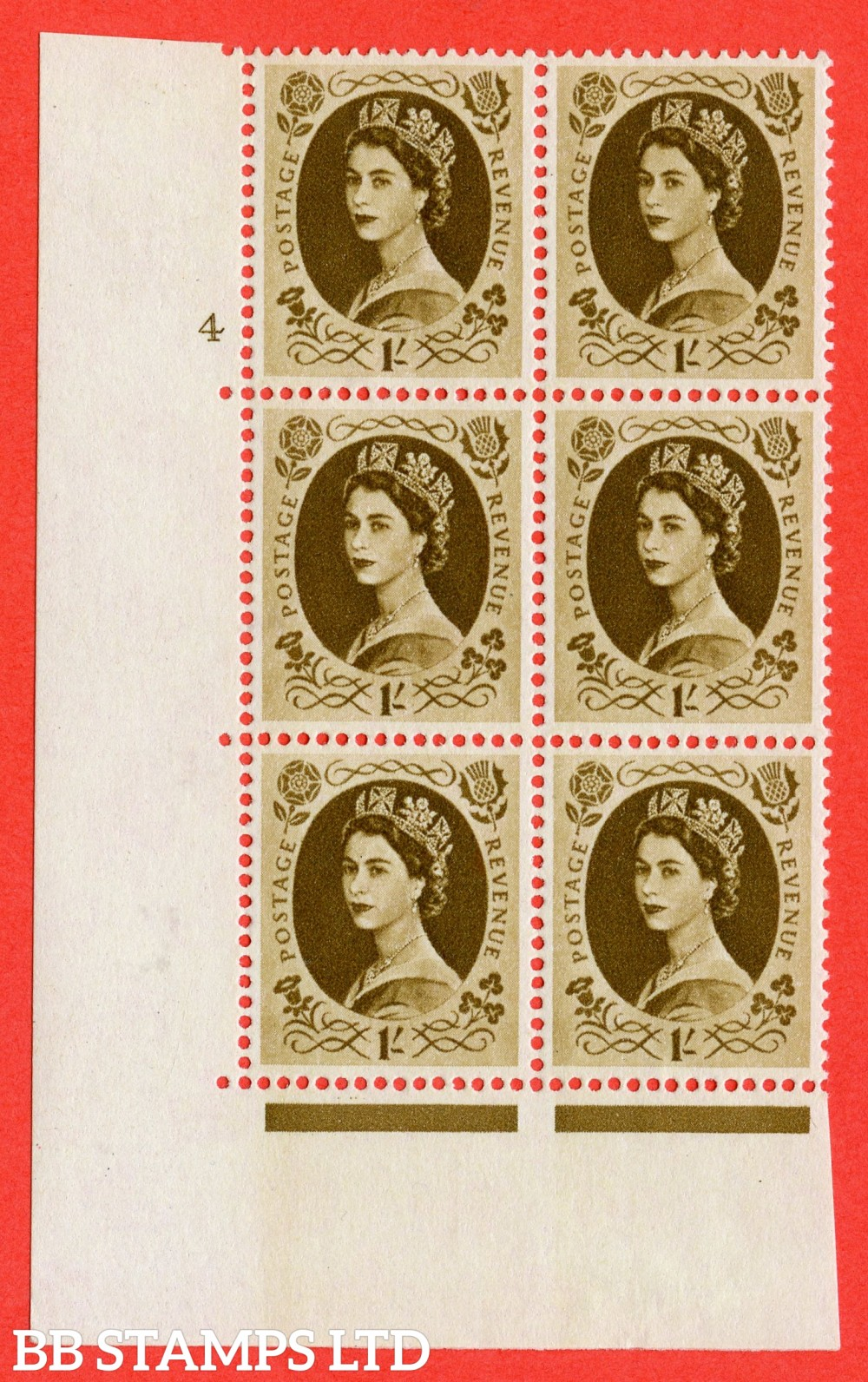 "SG. 584. S139. 1s Bistre-brown. A fine lightly mounted mint "" cylinder 4 dot "" control block of 6 with perf type A E/I. WHITE paper."