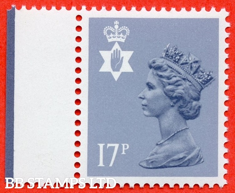 SG. NI43Ea. 17p grey - blue. Type II. A very fine UNMOUNTED MINT left hand marginal example of this very difficult regional.