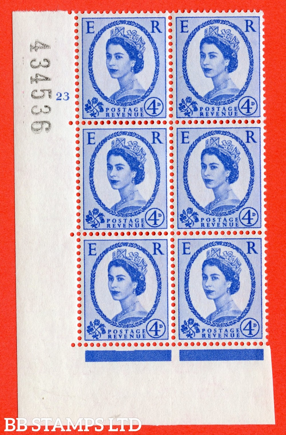 "SG. 576a. S85. 4d Deep Ultramarine. A fine lightly mounted mint "" cylinder 23 no dot "" control block of 6 with perf type A E/I. WHITE paper."