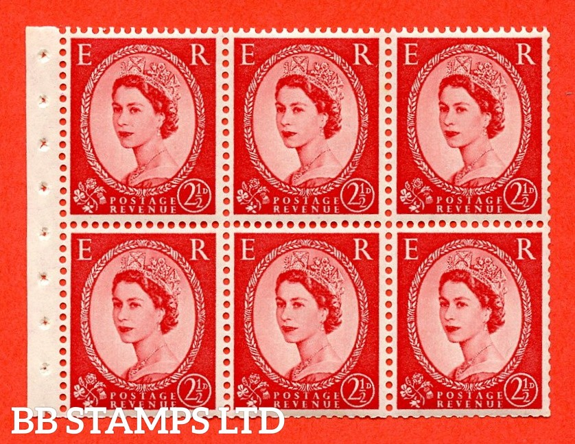 SG. 519 L. SB80. 2½d carmine - red. A fine UNMOUNTED MINT. Complete booklet pane of 6. Perf type (IS) with Trimmed PERFS.