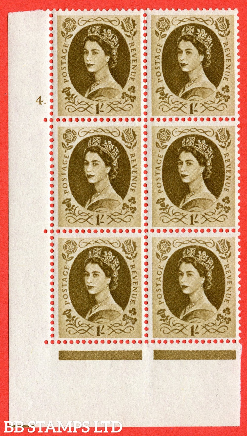 "SG. 584. S139. 1s Bistre-brown. A superb UNMOUNTED MINT "" cylinder 4 dot "" control block of 6 with perf type A E/I. WHITE paper."