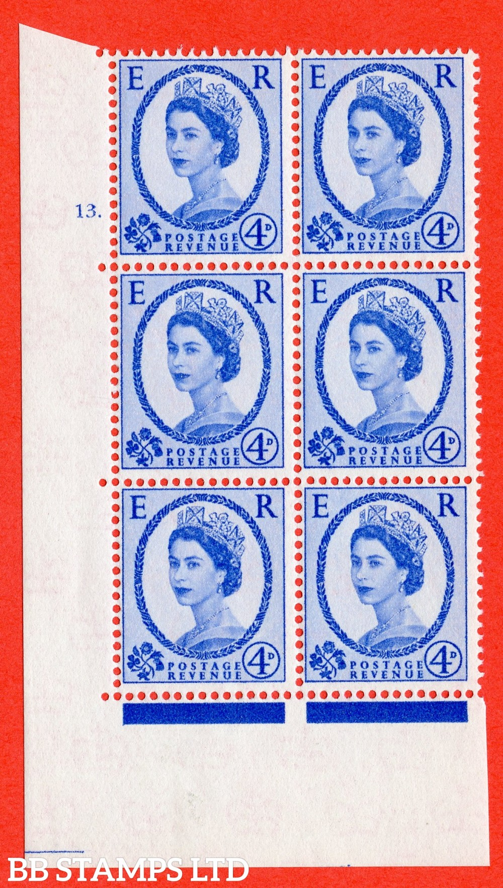 """SG. 576a. S85. 4d Deep Ultramarine. A fine lightly mounted mint """" cylinder 13 dot """" control block of 6 with perf type A E/I. WHITE paper."""