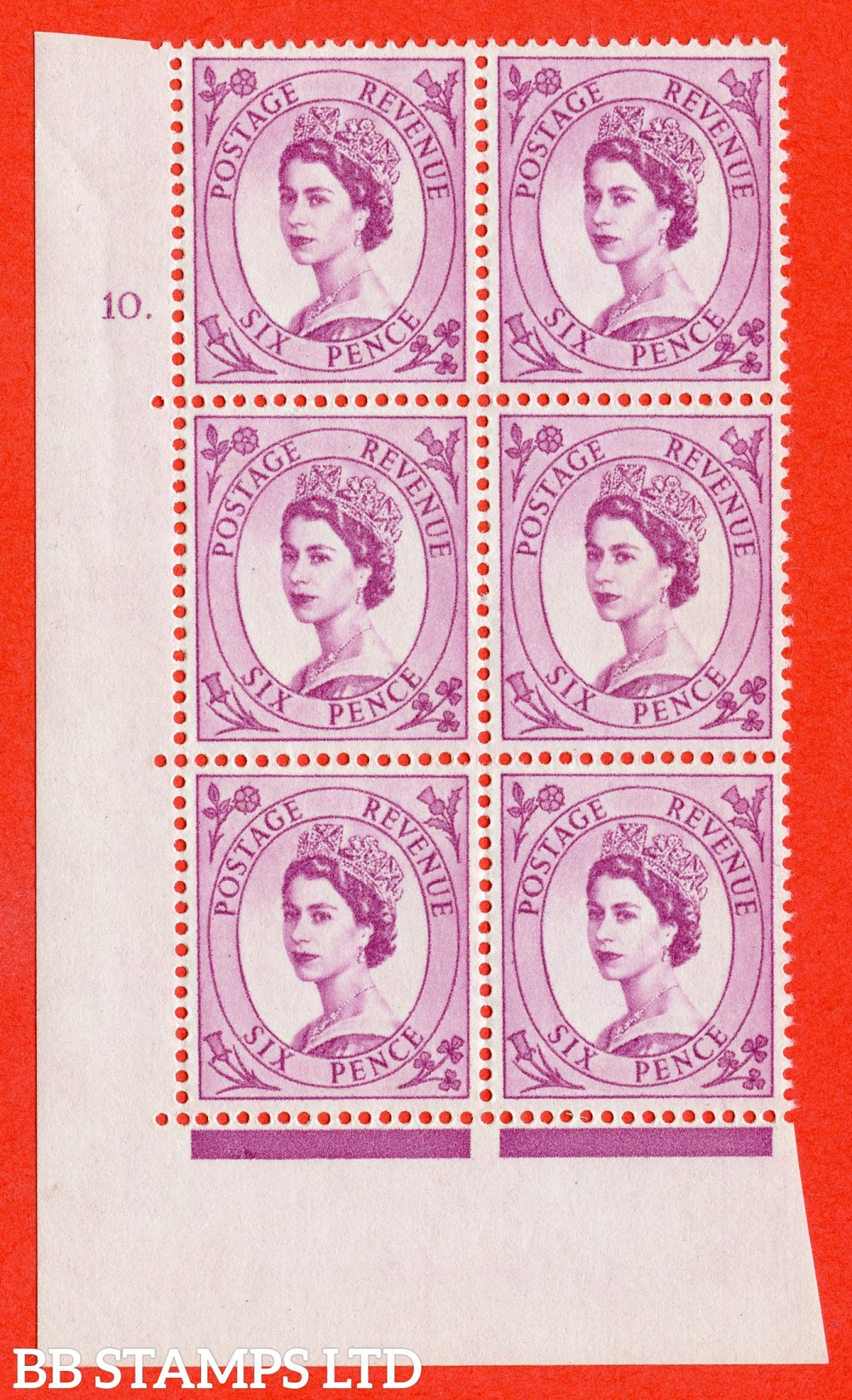 "SG. 579. S108. 6d Purple. A superb UNMOUNTED MINT "" cylinder 10 dot "" control block of 6 with perf type A E/I. WHITE paper."