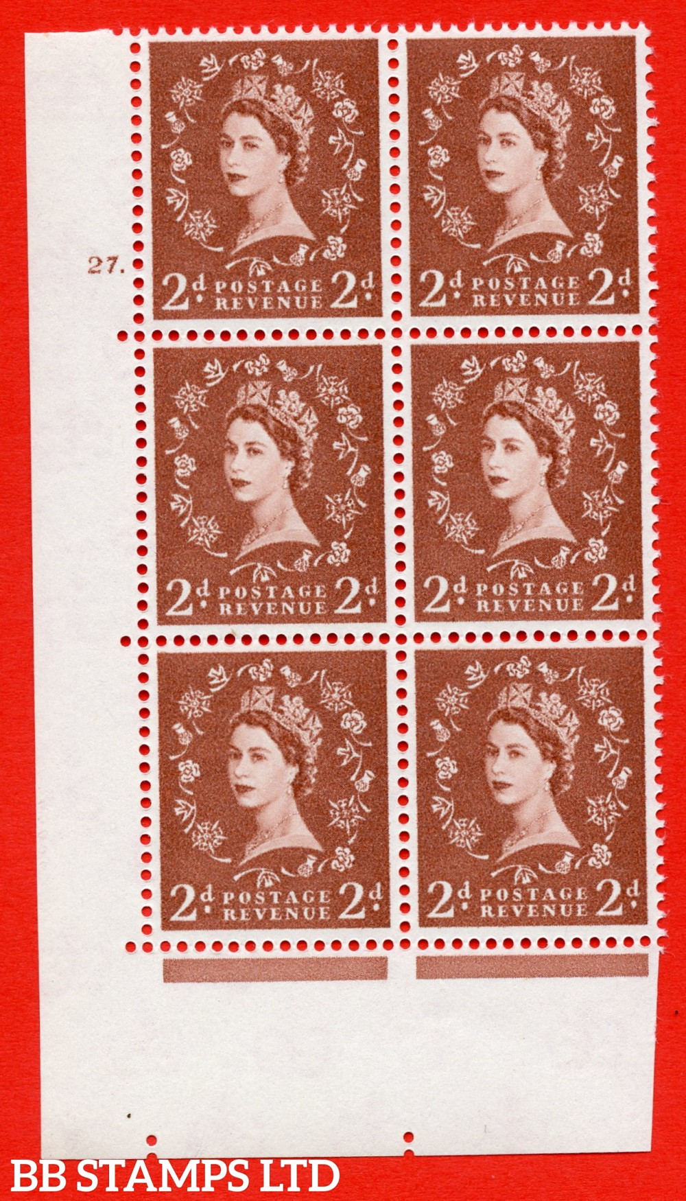 "SG. 573. S41. 2d Red - Brown. A superb UNMOUNTED MINT"" cylinder 27 dot "" control block of 6 with perf type A E/I. WHITE paper."