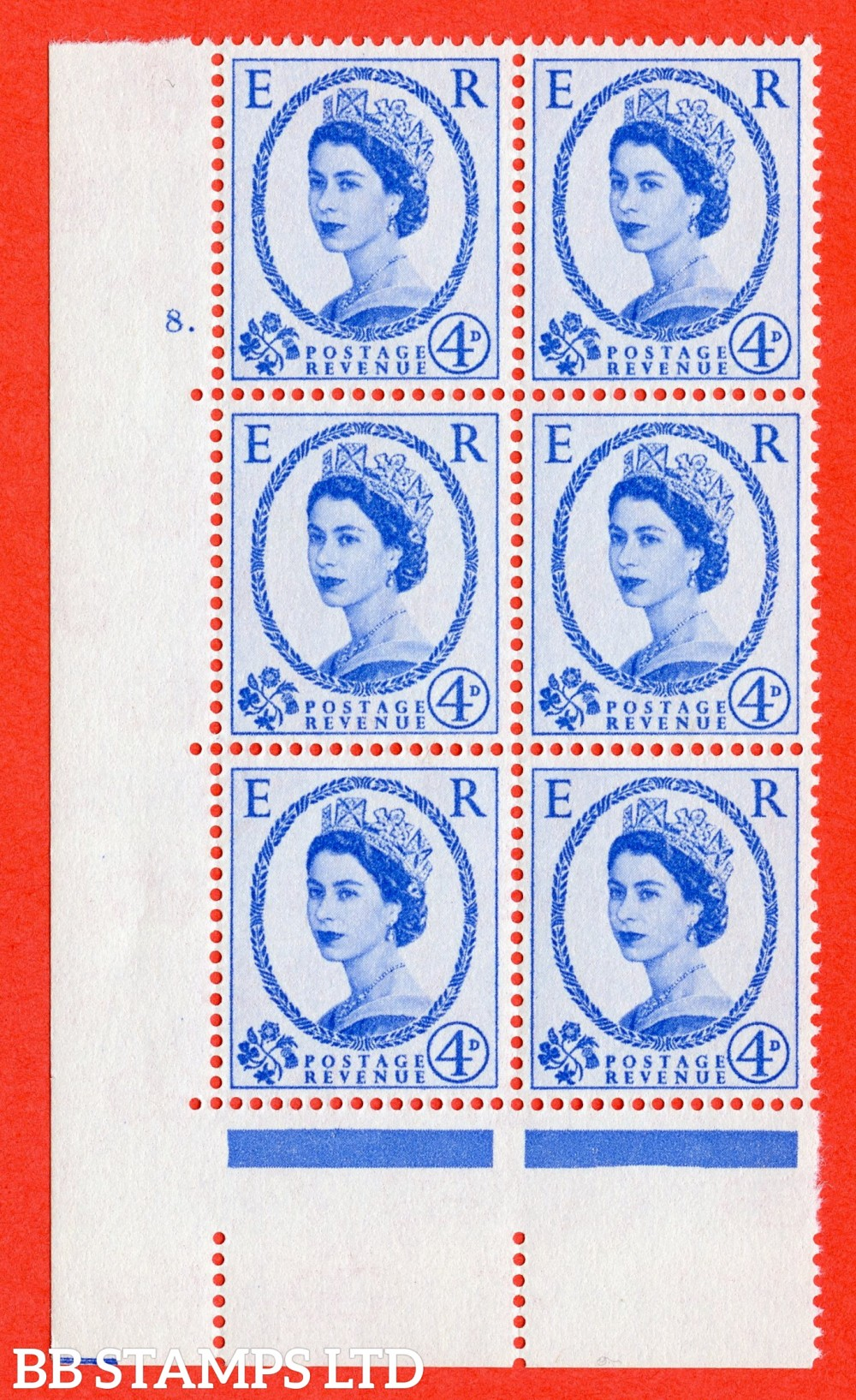 """SG. 576. S84. 4d Ultramarine. A superb UNMOUNTED MINT """" cylinder 8 dot """" control block of 6 with perf type A E/I. WHITE paper."""