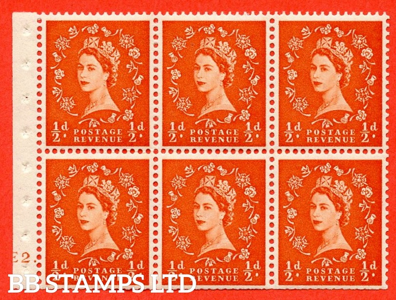 """SG. 515. SB1. ½d orange - red. A fine UNMOUNTED MINT cylinder """" E2 dot """" booklet pane of 6. Perf type (Ieb) with TRIMMED PERFS. Smooth edge."""