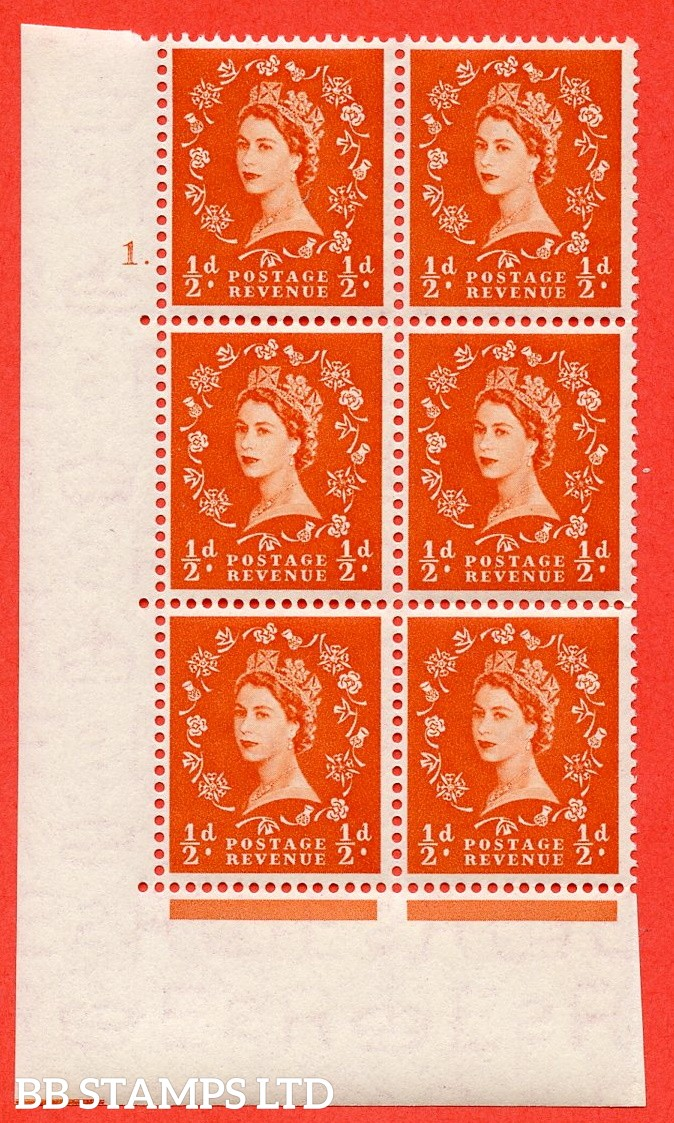 """SG. 515. S1. ½d Orange-Red. A superb UNMOUNTED MINT. """" cylinder 1 dot """" control block of 6 with perf type A E/I."""
