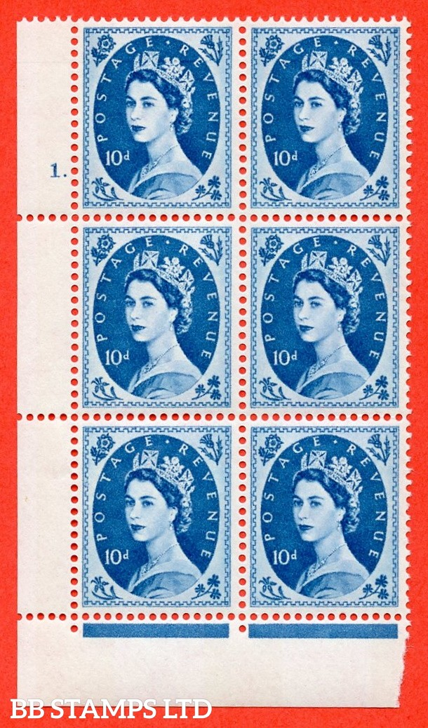 "SG.617d. S133. 10d Prussian Blue. A superb UNMOUNTED MINT "" cylinder 1 dot "" control block of 6 with perf type FL (P/E). violet Phosphor 9½mm Band"