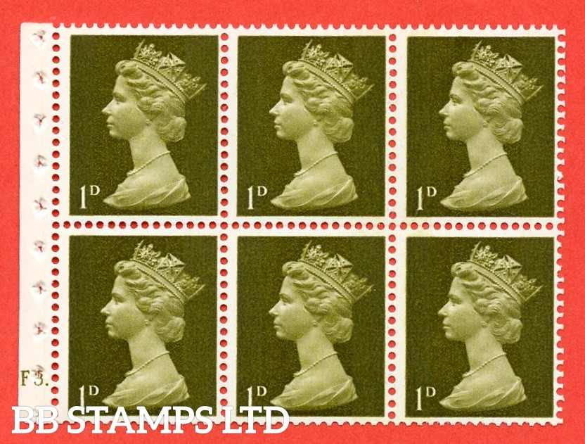 UB1 1d 2 Bands. UNMOUNTED MINT Complete Pre decimal machin Cylinder Pane of 6 F3 Dot . (UB1) Perf Type Ieb. Good Perfs.