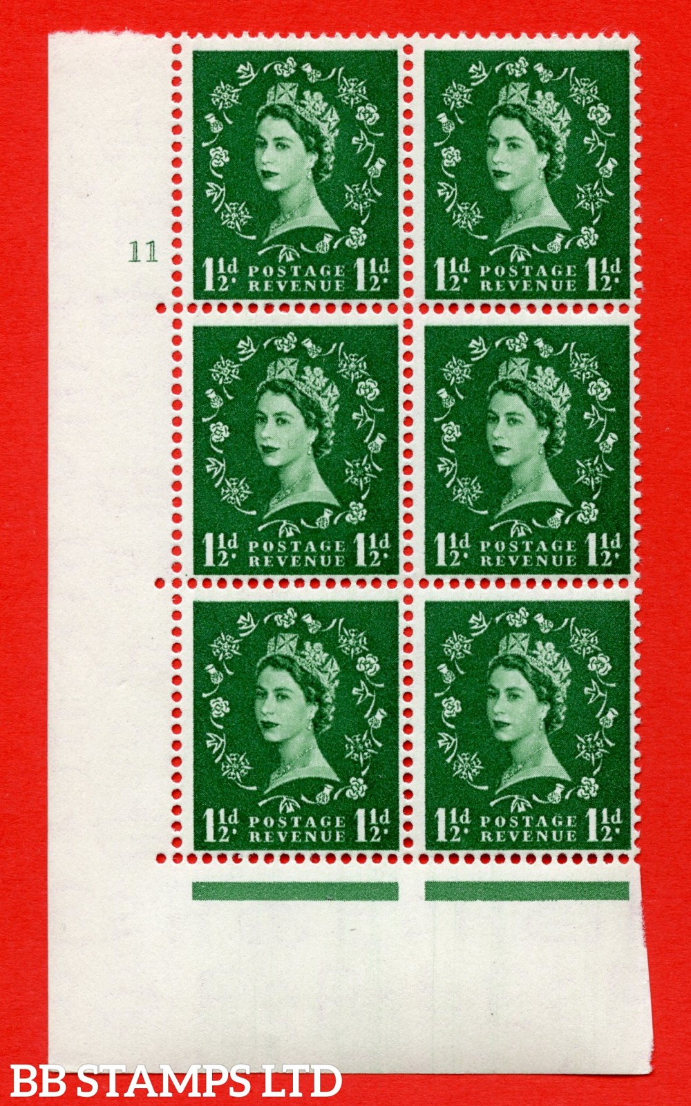 "SG. 517. S25. 1½d Green. A superb UNMOUNTED MINT "" cylinder 11 no dot "" control block of 6 with perf type A E/I."