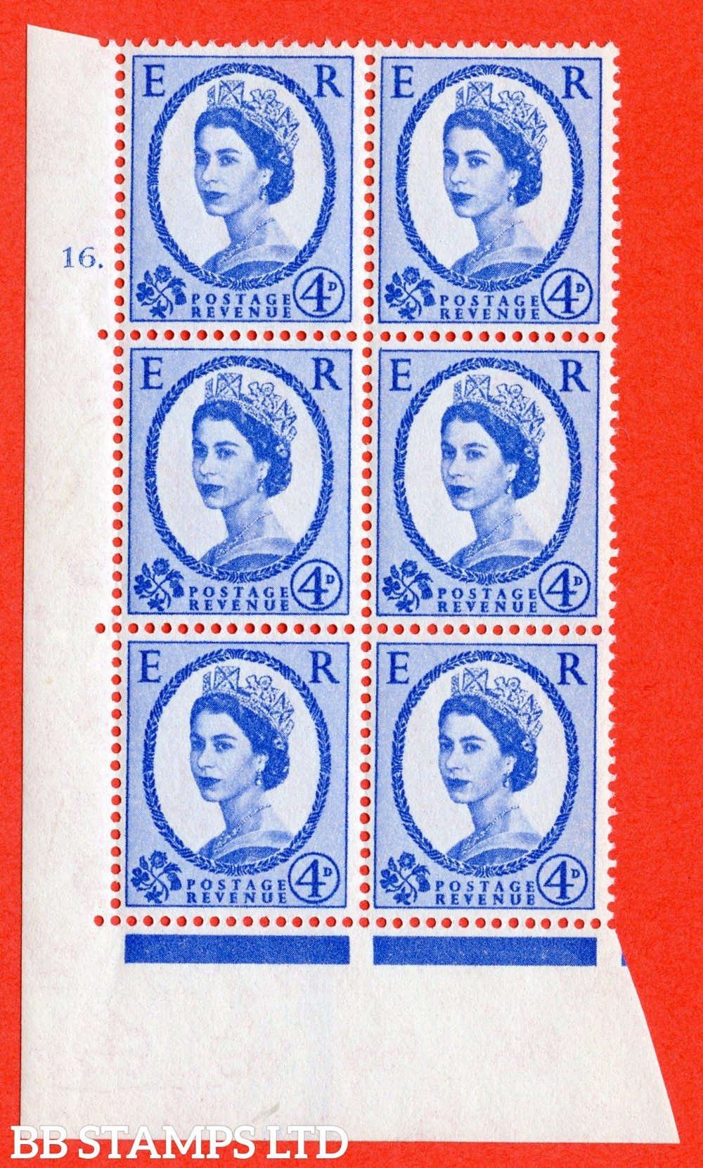 "SG. 576a. S85. 4d Deep Ultramarine. A fine lightly mounted mint "" cylinder 16 dot "" control block of 6 with perf type A E/I. WHITE paper."