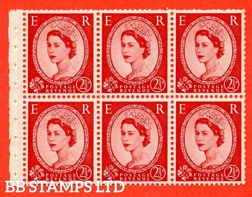 SG. 519 L. SB80. 2½d carmine - red. A fine UNMOUNTED MINT. Complete booklet pane of 6. Perf type (IR) with Trimmed PERFS.
