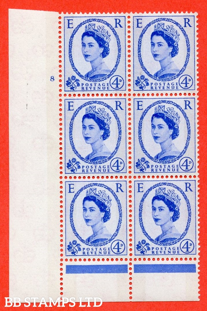 """SG. 616. S88. 4d Ultramarine. A superb UNMOUNTED MINT """" cylinder 8 no dot """" control block of 6 with perf type B (I/P). Green Phosphor."""