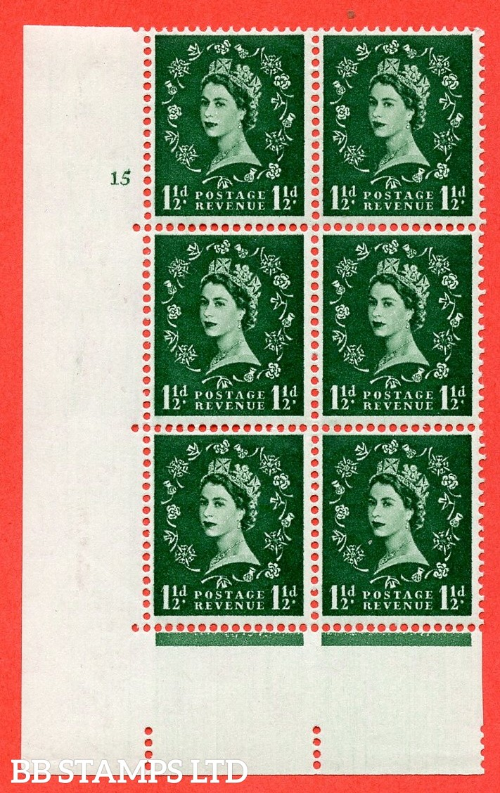"""SG. 572. S28. 1½d Green. A fine mounted mint """" cylinder 15 no dot """" control block of 6 with perf type A E/I. CREAM paper."""