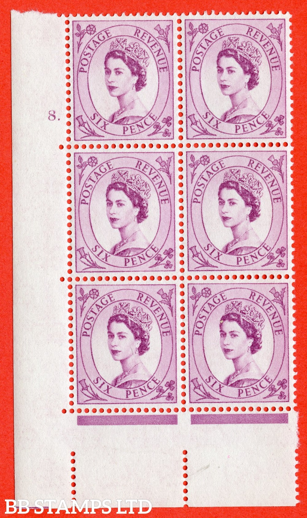 "SG. 579. S108. 6d Purple. A superb UNMOUNTED MINT "" cylinder 8 dot "" control block of 6 with perf type A E/I. WHITE paper."