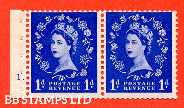 """SG. 516. SB22. 1d ultramarine. A fine UNMOUNTED MINT cylinder """" 1 dot """" booklet pane of 2. Perf type (E) with TRIMMED PERFS. Smooth edge."""