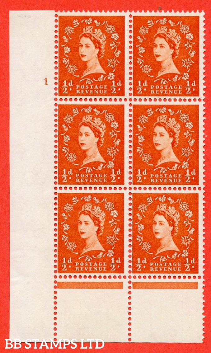 "SG. 570. S4. ½d Orange. A fine mounted mint "" cylinder 1 no dot "" control block of 6 with perf type B I/P. CREAM paper."