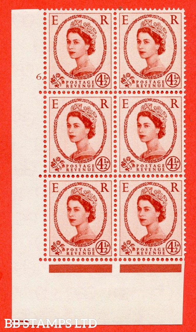"SG. 577 S93. 4d½ chestnut  A fine mounted mint "" cylinder 6 dot "" control block of 6 with perf type A (E/I)."