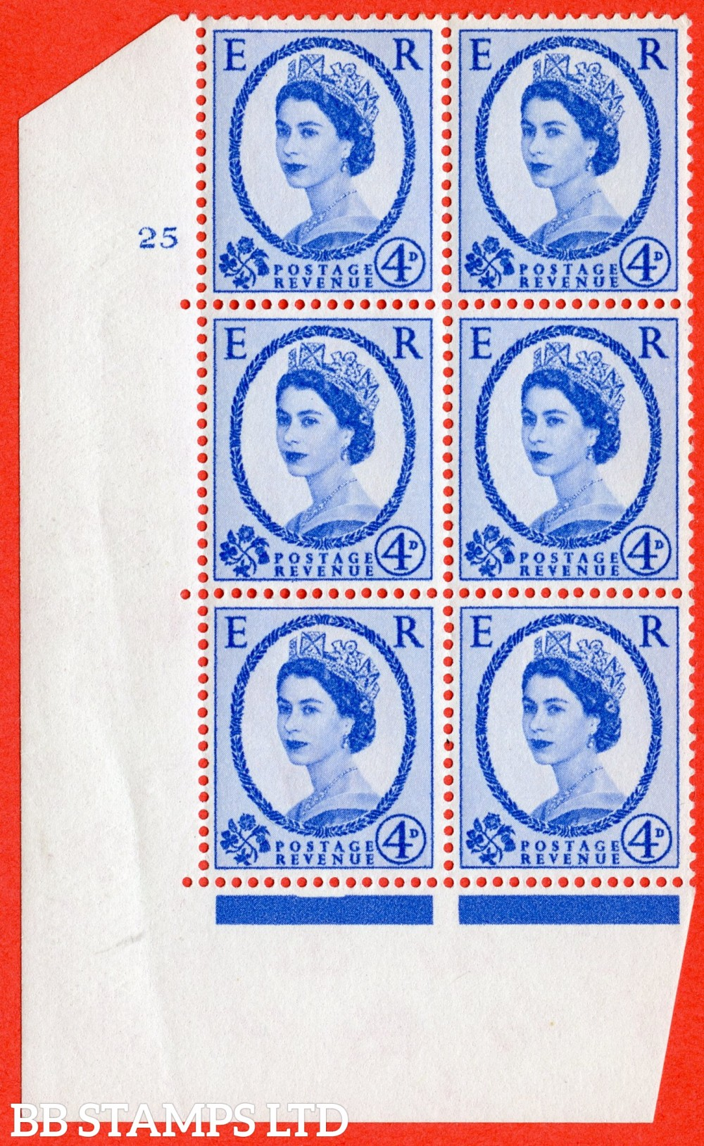 """SG. 576a. S85. 4d Deep Ultramarine. A superb UNMOUNTED MINT """" cylinder 25 no  dot """" control block of 6 with perf type A E/I. WHITE paper."""