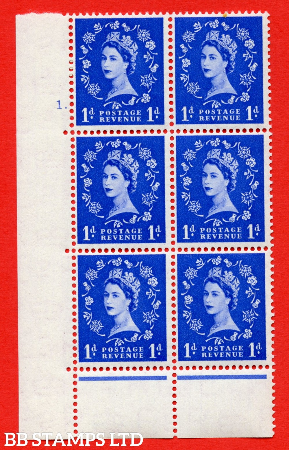"SG. 516. S13. 1d Ultramarine. A superb UNMOUNTED MINT. "" cylinder 1 dot "" control block of 6 with perf type C E/P."