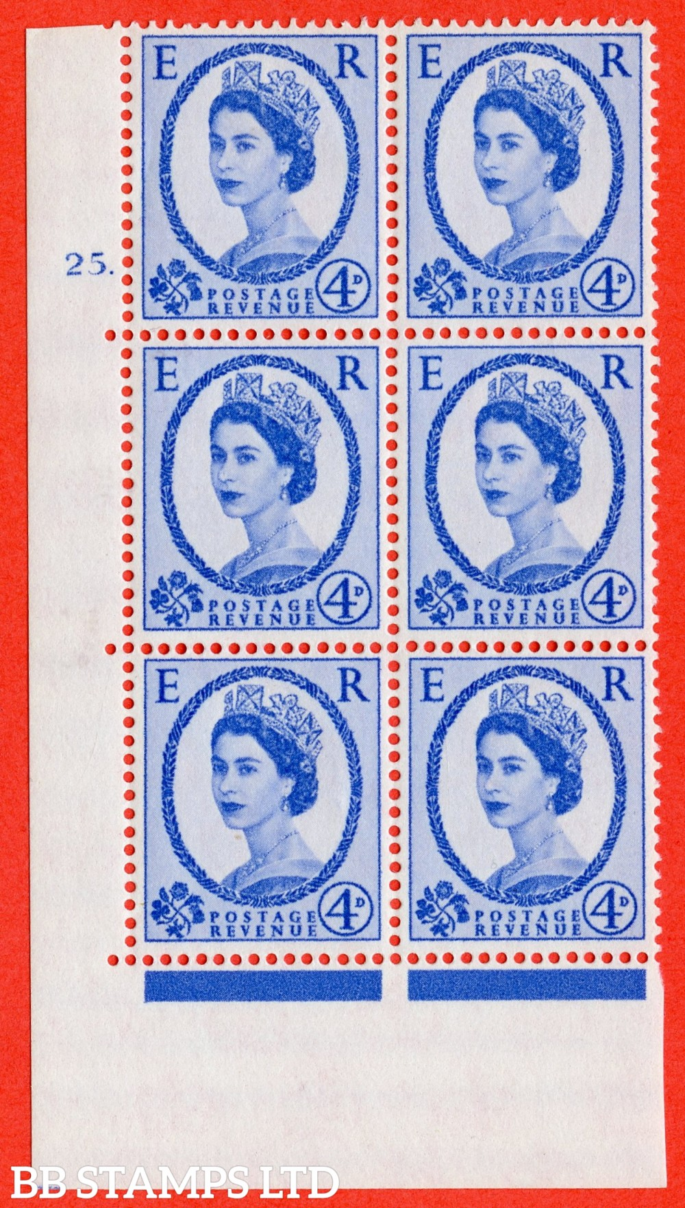 """SG. 576a. S85. 4d Deep Ultramarine. A superb UNMOUNTED MINT """" cylinder 25 dot """" control block of 6 with perf type A E/I. WHITE paper."""