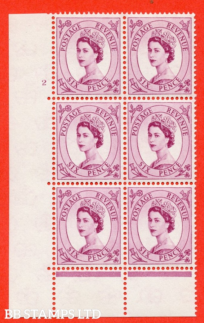 "SG. 579 S107. 6d Deep claret  A fine mounted mint "" cylinder 2 no dot "" control block of 6 with perf type C (E/P)."
